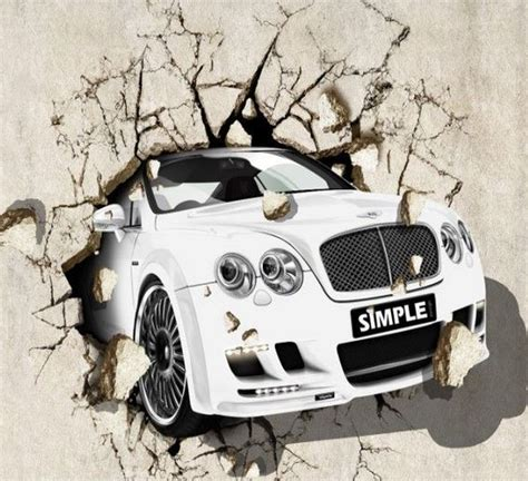 Large 3d Wall Painting Car 3d Mural Large Background Wall