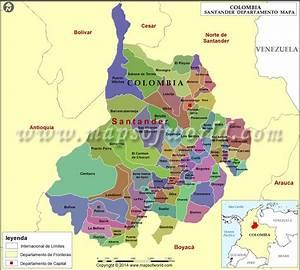 Mapa De Santander Colombia   Departamento De Santander