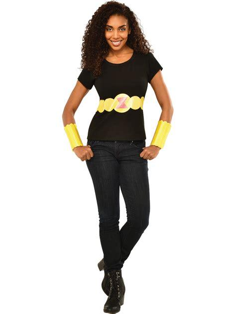Womens Adult Black Widow T Shirt Belt And Arm Bands Set