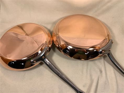 set   mauviel french copper tin lined fry pans   diameter    diameter