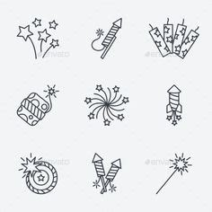 firecrackers vector set  snipergraphics  creative