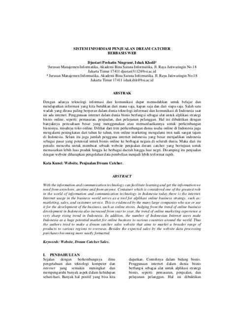 Jurnal Sistem Informasi Penjualan Dreamcatcher Berbasis Web
