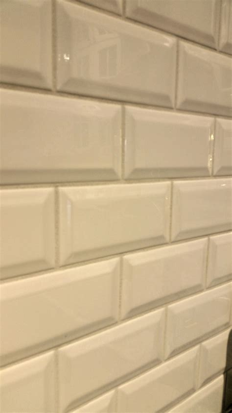 It's jewelry for your kitchen! Beveled subway backsplash