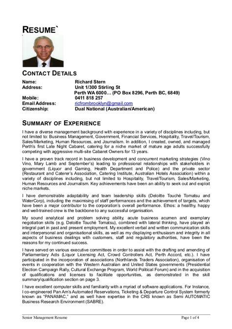 address on resume yes or no senior mgmt resume 4 page