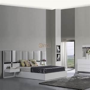 Chambre adulte contemporaine tete de lit laque et molleton art for Chambre à coucher adulte moderne avec prix pour un bon matelas