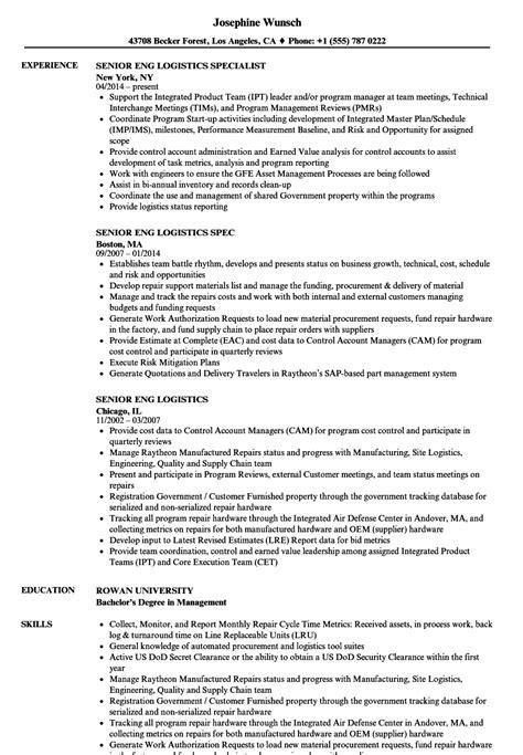 senior eng logistics resume samples velvet jobs