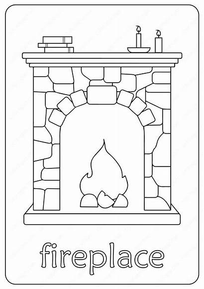 Coloring Fireplace Printable Lettering Elsa Chimney Drawing