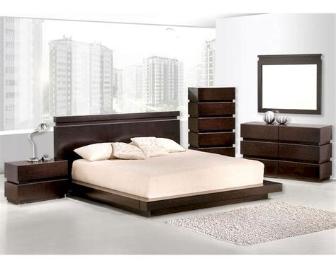 contemporary wenge finish bedroom set bset