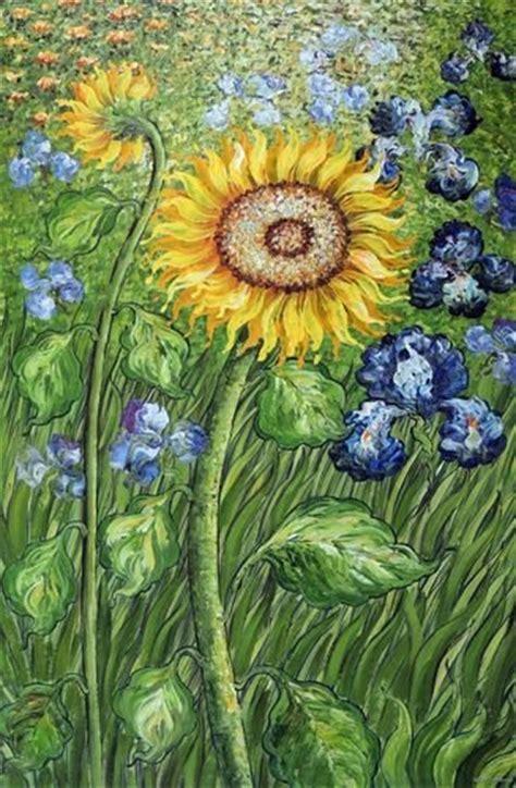 golden sunflower blue iris flower garden field van gogh