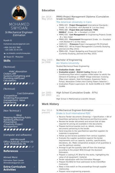 srmechanical engineer estimation resume  cv