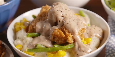 southern cooking how to make chicken fried steak bowls chicken fried steak bowl video delish com
