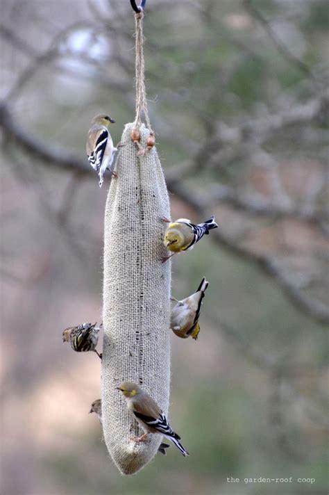 diy burlap thistle sock bird feeders pinterest