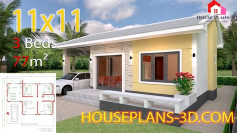 House Design Plans 11x11 with 3 Bedrooms SamPhoas Plan