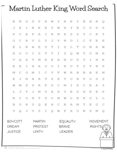 martin luther king jr worksheets word search martin luther king jr word search worksheet