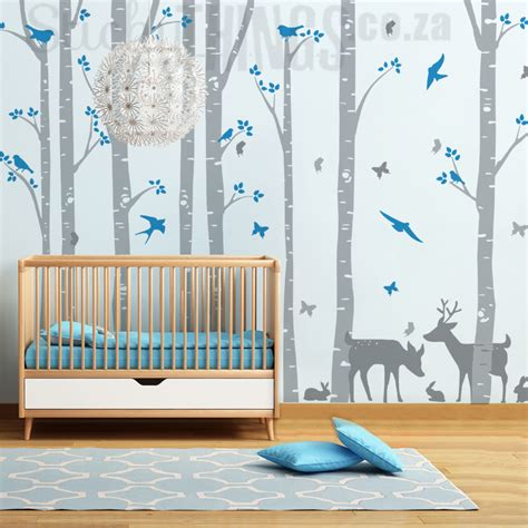 Nursery Wall Decals  Birch Forest Stickythingscoza