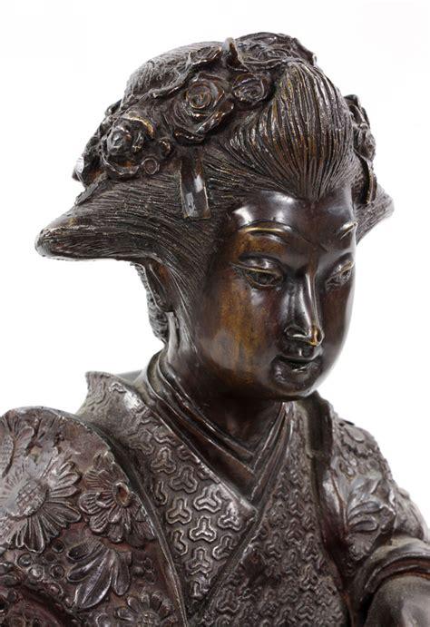 Lot Detail - Japanese Bronze Sculpture of Female Musician