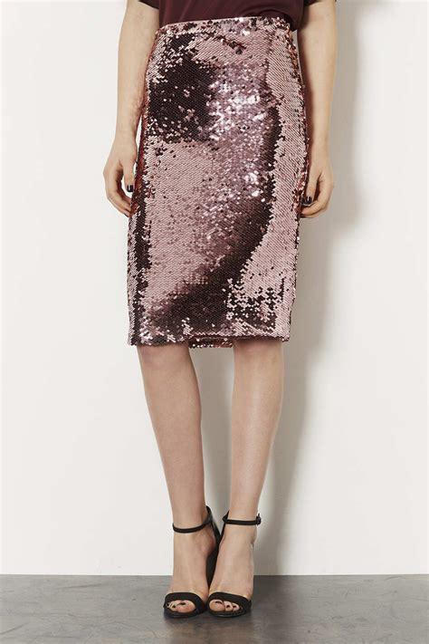 topshop pink sequin pencil skirt lyst