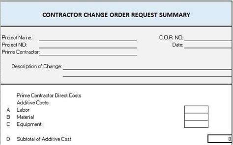 change order templates project management templates