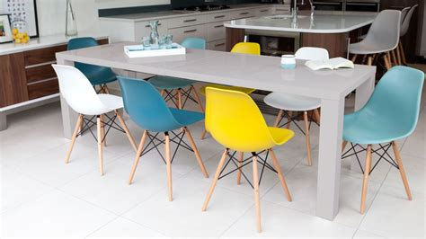 grey gloss extending dining table and eames dining chairs