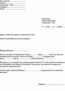 Documents Pour Compromis De Vente : mod le de lettre notification vendeur du compromis de vente pour un bien immobilier ~ Gottalentnigeria.com Avis de Voitures