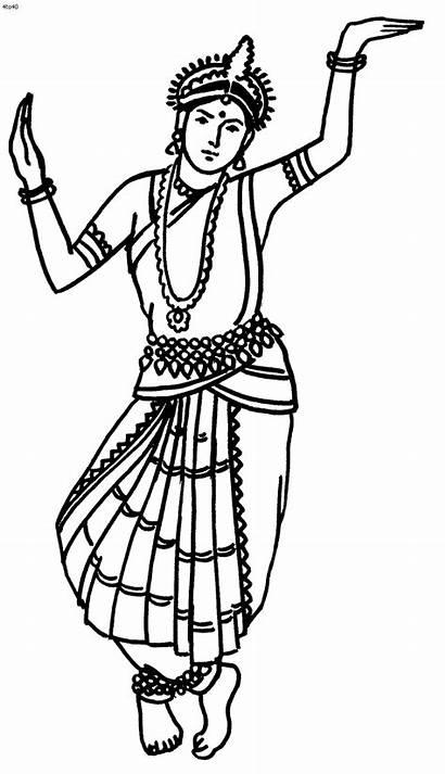 Dance Coloring India Odissi Dancer Indian Coloriages