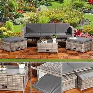 Lounge Garnitur Terrasse : polyrattan garnitur lounge set sitzm bel grau ~ Markanthonyermac.com Haus und Dekorationen