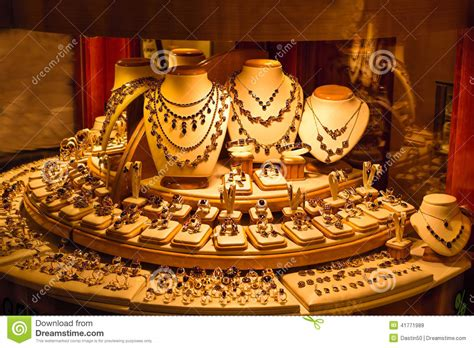 Gold Jewelry Display In Store Window Stock Image Image