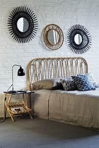 Miroir Rotin Noir : t te de lit en rotin son chevet avec plateau noir et les miroirs vintage kok maison ~ Melissatoandfro.com Idées de Décoration