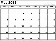 May 2018 Calendar monthly calendar 2017