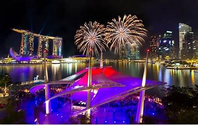 Singapore Fireworks Marina Bay Night Sands Wallpapers