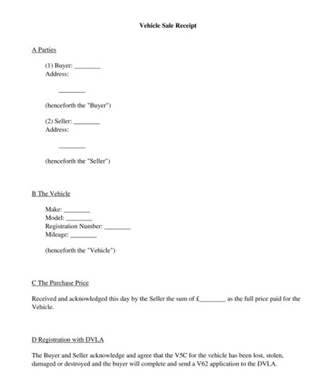 vehicle sale receipt sle template word and pdf