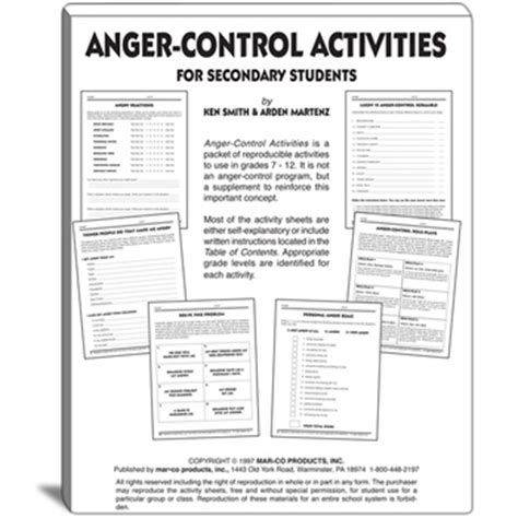 anger management activities for preschoolers anger activities for grades 7 to 12 608