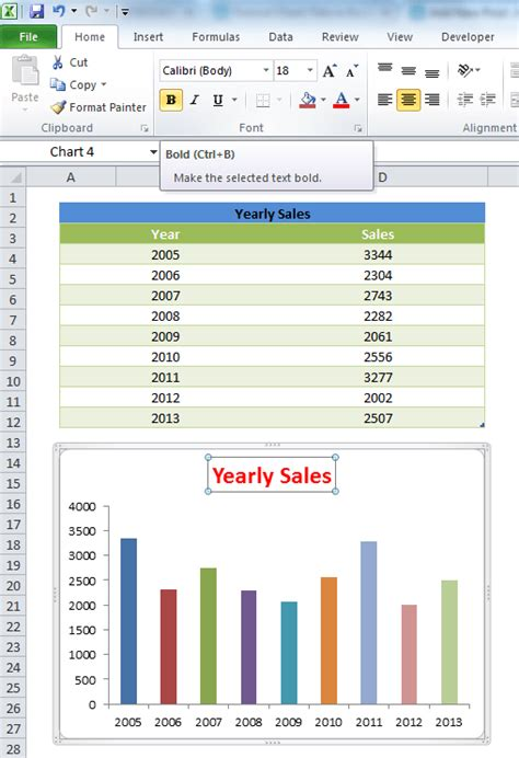 chart title font styles  excel size color bold