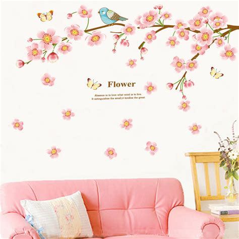 beautiful flower tree branches wall sticker decals pink cherry blossom wallpaper