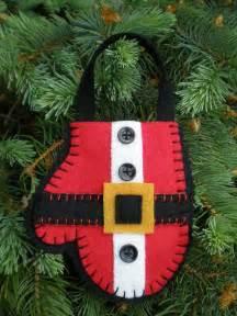 Santa Mitten Felt Ornament