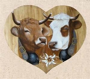 Tete De Vache Deco : deco tableaux poya bois et vache ~ Melissatoandfro.com Idées de Décoration