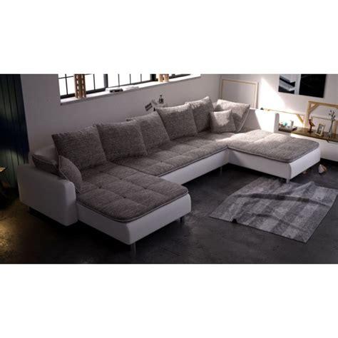 canapé angle convertible blanc grand canapé panoramique 7 places dante en tissu et simili