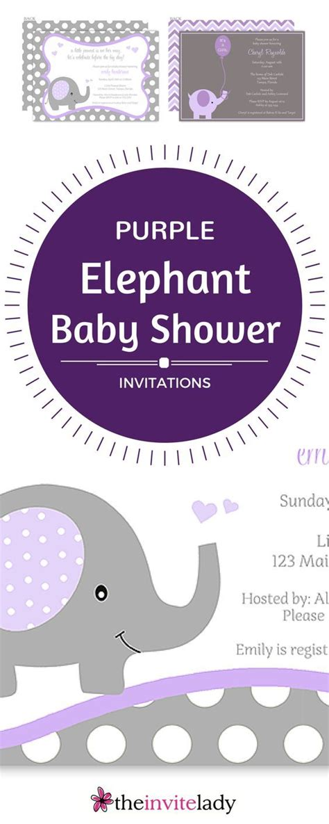 Purple Baby Shower Invitations by Purple And Grey Baby Shower Elephant Invitations For