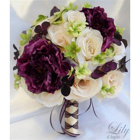 ivory purple plum flower flores boda ramos de novia