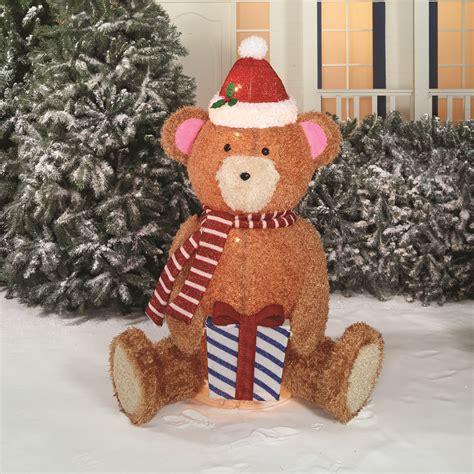 popup fluffy bear christmas light outdoor yard