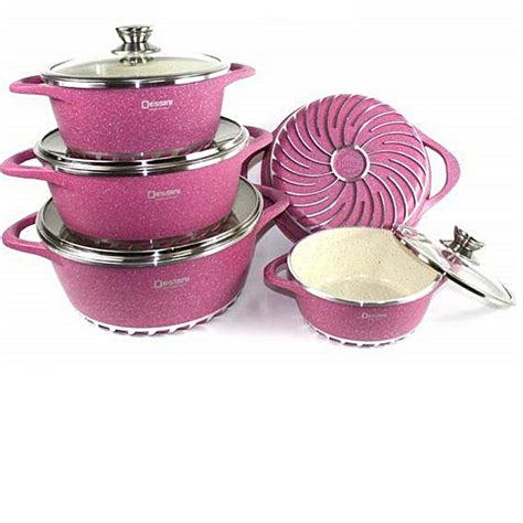 dessini nonstick granite coated cookware pink   price