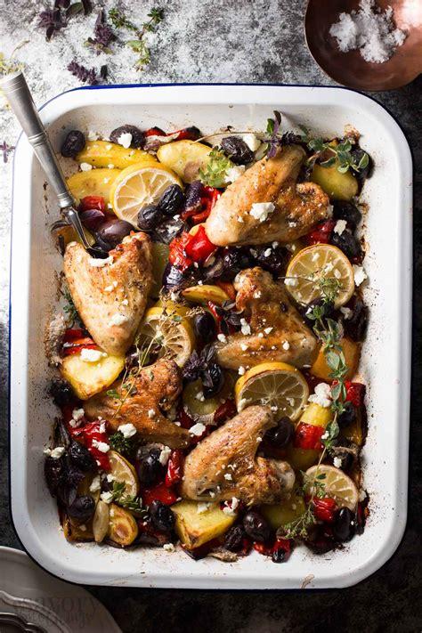 Easy Baked Chicken Dinner  Greek Lemon Chicken With Veggies