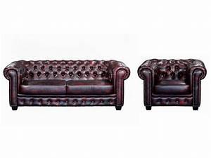 Fauteuil Et Canapé : canap et fauteuil chesterfield 100 cuir de buffle brenton ~ Teatrodelosmanantiales.com Idées de Décoration