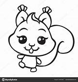 Squirrel Coloring Illustration Pages Depositphotos Vector sketch template