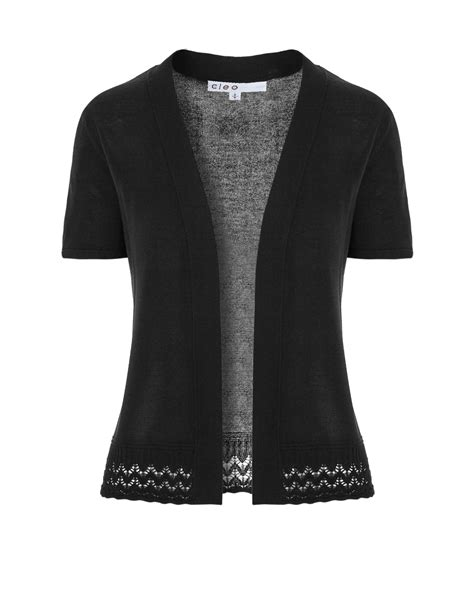 Black Short Sleeve Cardigan Sweater