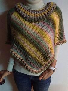 Crochet En S : ruana multicolor tejida en dos agujas multicolor poncho ~ Nature-et-papiers.com Idées de Décoration