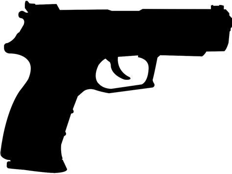 Pistol Clipart Silueta Pistola Contorno Y Silueta Vector