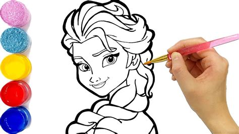 Glitter Frozen Elsa Coloring And Drawing Accessories Learn