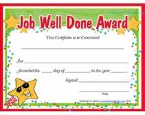 free printable job well done award certificates With well done certificate template