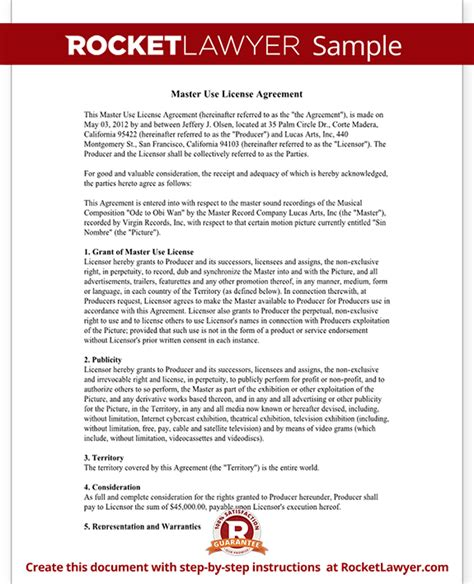 Photo License Agreement Template by Master Use License Agreement Free Agreement Form With